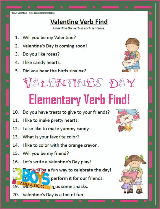 Printable Valentines Day Verb Practice Worksheet