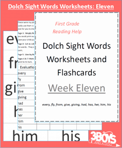 Dolch Sight Words Worksheets:  Week Eleven