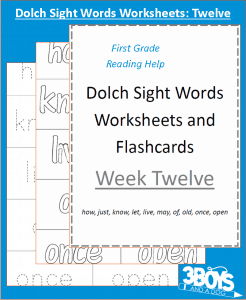 Dolch Sight Words Worksheets:  Week Twelve