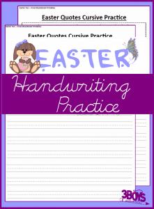 Printable Easter Worksheets: Cursive Handwriting Practice