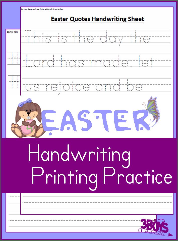Easter Kindergarten Handwriting Practice