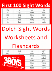 First 100 Dolch Sight Words Printables!