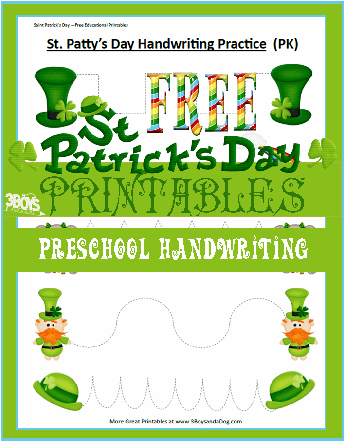 Saint Patrick's Day Handwriting Printable