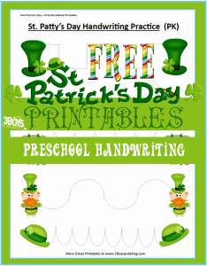 Saint Patrick's Day Printables: Preschool Handwriting Practice