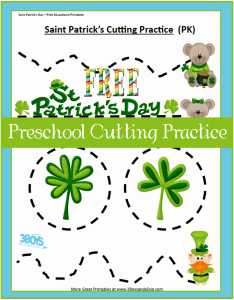 St Patty Preschool Cutting Practice