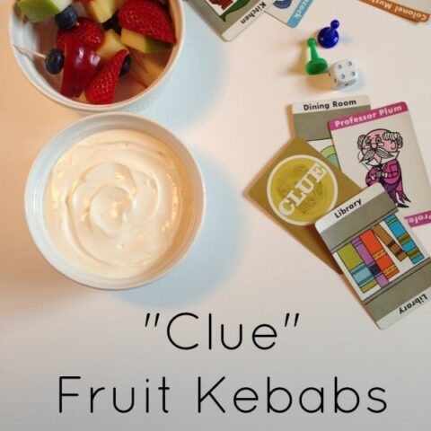 Clue Fruit Kebabs with Yogurt Dip