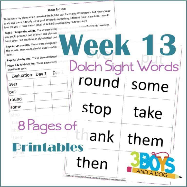 8 pages of printables, week 13, Dolch sight words