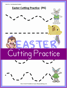 Printable Easter Worksheets:  Preschool Cutting Practice