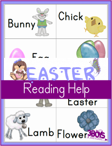 Printable Easter Worksheets:  Reading Flash Cards