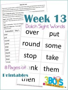 Dolch Sight Words Worksheets:  Week Thirteen