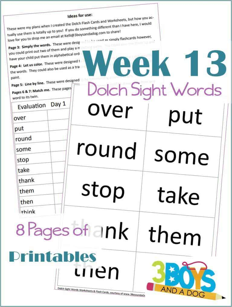 Grab these free Dolch Sight Words worksheets to help your kids learn to read over, put, round, some, stop, take, thank, them, then, and think!
