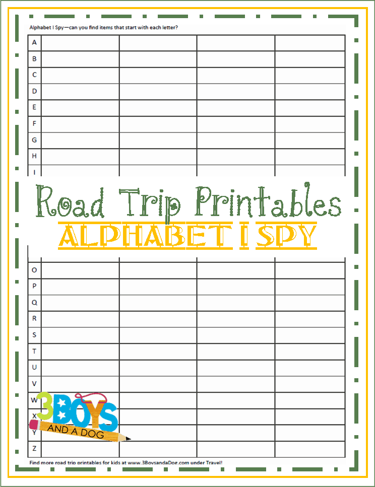 road trip printables for kids