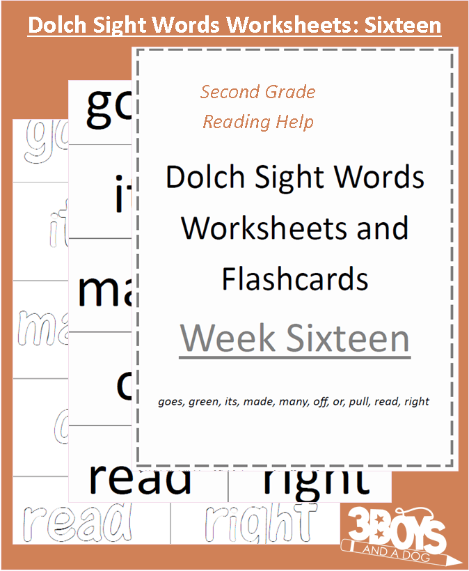 Dolch Sight Words Worksheets Week 16 3 Boys and a Dog – Dolch Sight Words Worksheets