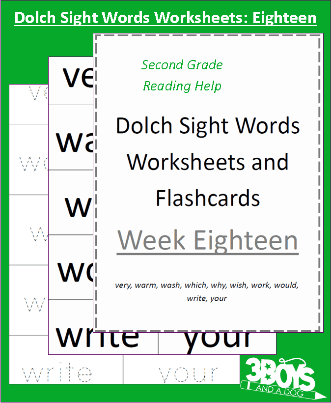 Dolch sight words worksheets week eighteen 3 boys and a dog