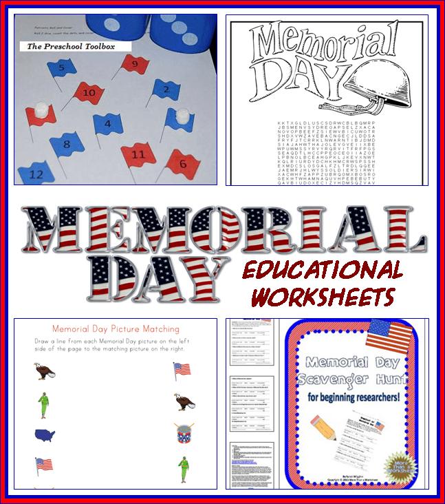 Memorial Day Educational Worksheets