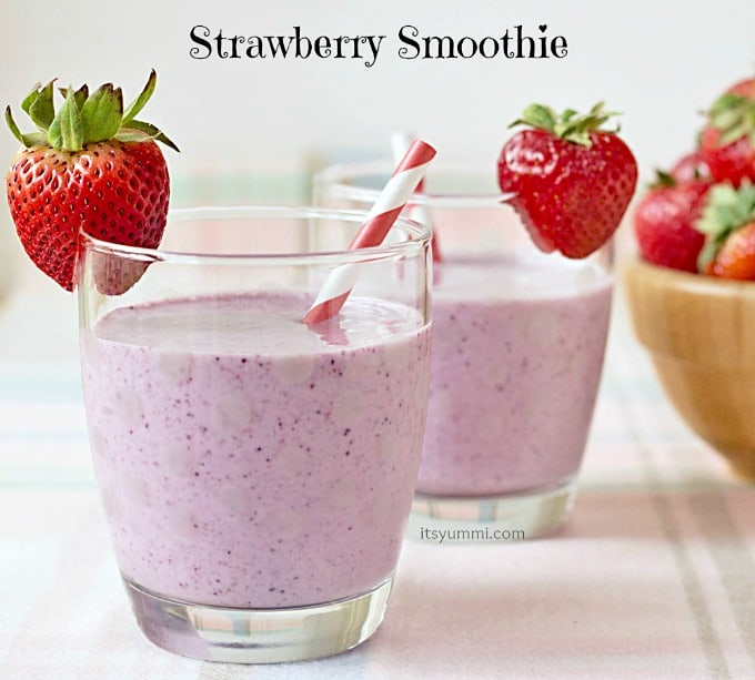 Recipe for a Strawberry Smoothie. A delicious and healthy way to start your day! #breakfast #recipe #healthy