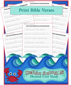 Ocean Animals Unit Study: Bible Verse Handwriting Sheets