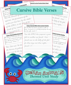 Ocean Animals Unit Study: Bible Verse Cursive Writing Sheets