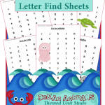 Ocean Animals Unit Study: Find a Letter Worksheets