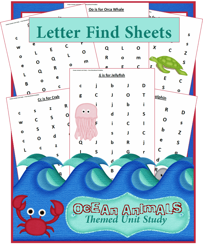 Ocean Animals Unit Study Find A Letter Worksheets 3 Boys And Dog. Ocean Animals Unit Study Find A Letter Worksheets. Worksheet. Ocean Animals Worksheets At Clickcart.co