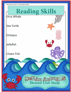 Ocean Animals Unit Study: Reading Skills Worksheets