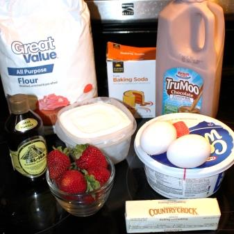 Chcocolate Strawberry Milk Cake Ingredients