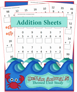 Ocean Animals Addition Worksheets