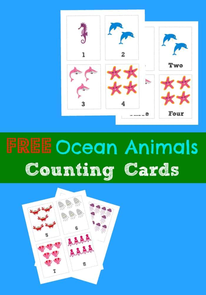 Free Ocean Animal Counting Flashcards - 3 Boys and a Dog