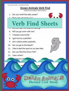 Verb Find Worksheet  {Ocean Animals Unit Study}
