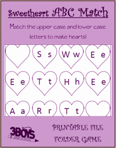 Sweetheart ABC Letter Matching Game