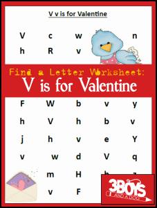 Find the Letter Printables: V is for Valentine