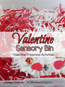 valentine sensory bin-valentine preschool activities