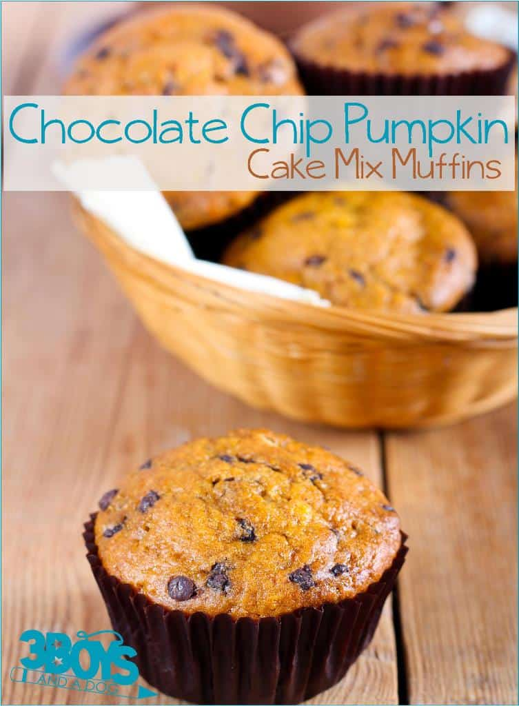 Chocolate Chip Pumpkin Cake Mix Muffins