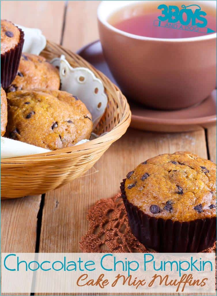 Chocolate Chip Pumpkin Muffins from a Boxed Cake Mix