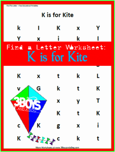 letter find worksheet for letter K is for Kite