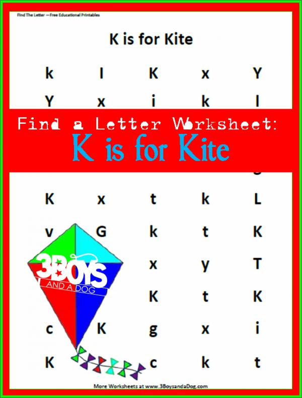 letter find worksheet for letter K is for Kite
