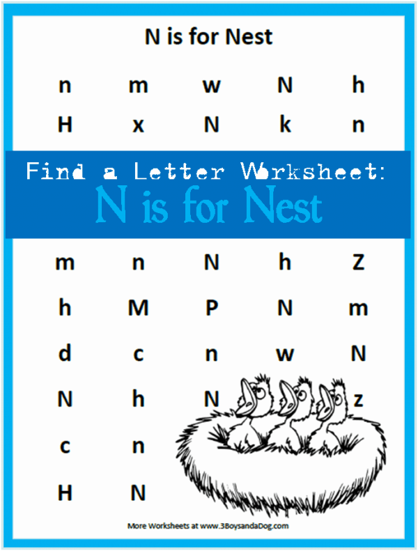 letter find worksheets: find the letter N is for Nest