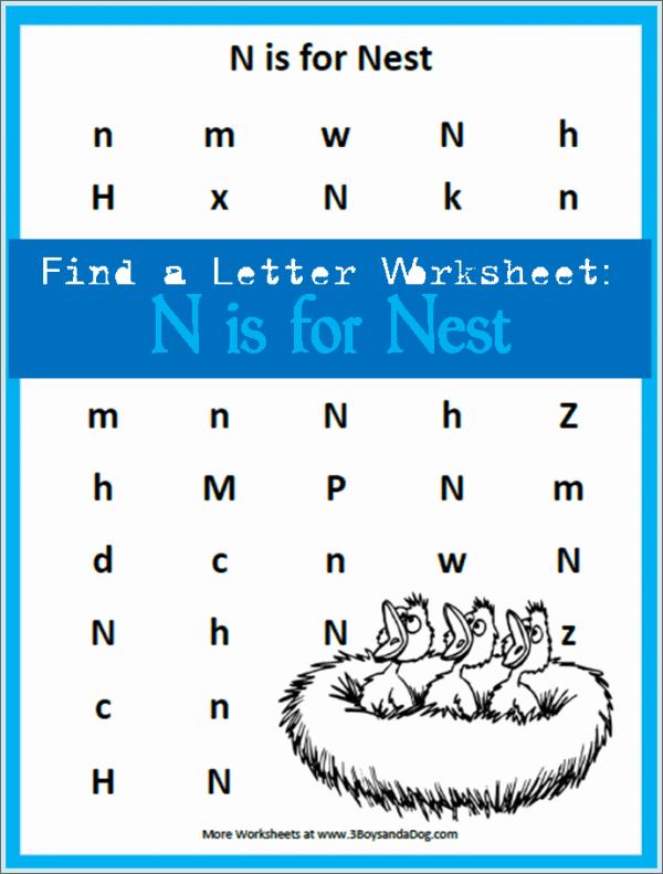 letter find worksheets: find the letter N is for Nest