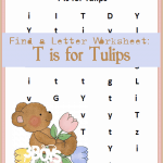 T is for Tulips, Spring Letter Find Printable