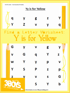 Letter find worksheets: Y is for Yellow