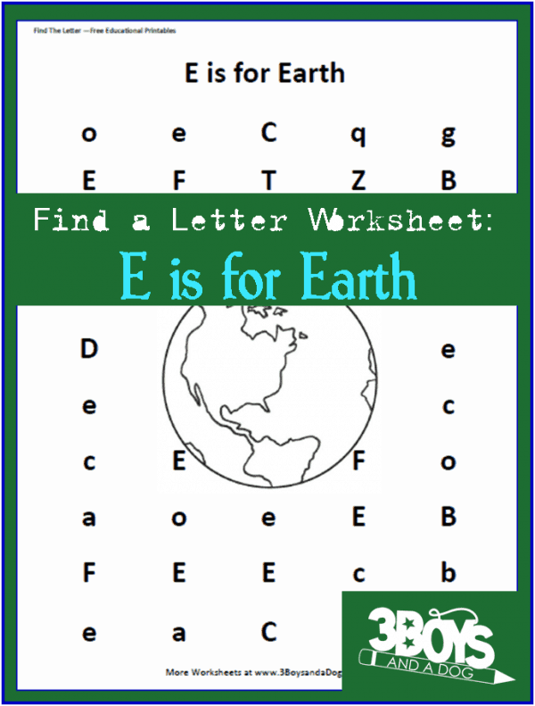 Letter find worksheet: E is for Earth