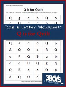 homeschooling freebies - letter find worksheet q is for quilt