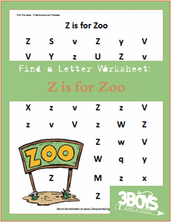 Letter find worksheet: Z is for Zoo