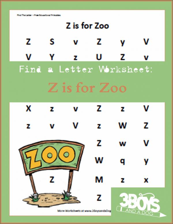 Letter find worksheet: Z is for Zoo