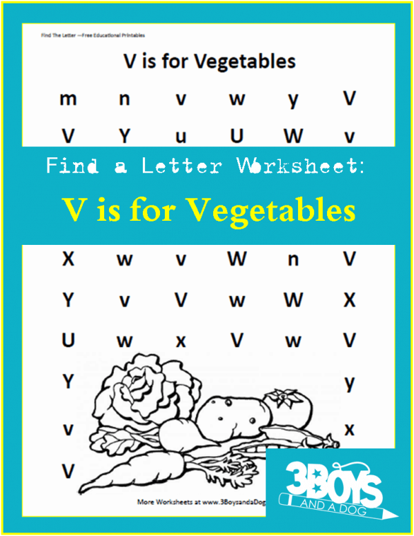 Find the Letter Worksheet: V is for Vegetables