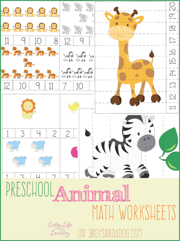 Animal Preschool Math Worksheets – 3 Boys and a Dog