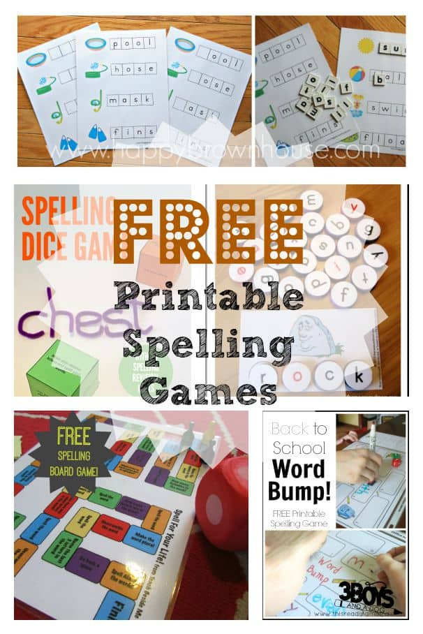 free printable spelling games