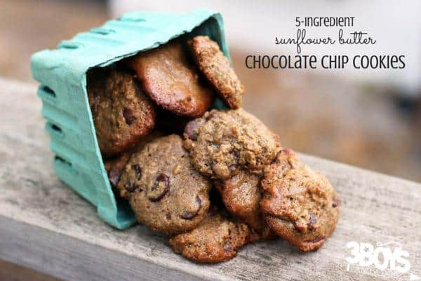 5-ingredient Sunflower Butter Chocolate Chip Cookies - delicious, easy, and even a little bit healthy!