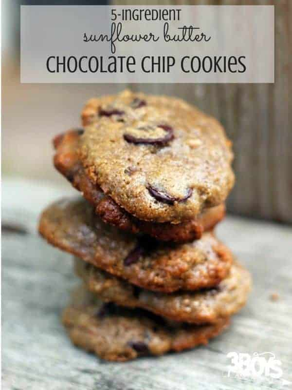 5 Ingredient Chocolate Chip Cookies Made With Sunflower Butter An Easy Cookie Recipe That Your