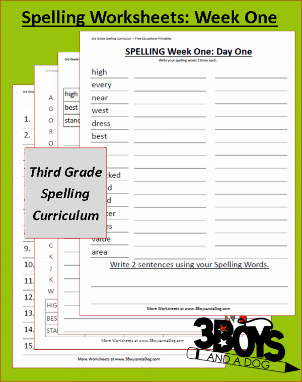 Grade Three Spelling Curriculum Week One